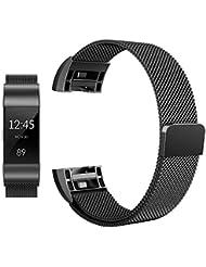 Featol Fitbit Charge 2 Armband, Milanese Edelstahl Fitness Armband mit starkem Magnetverschluss
