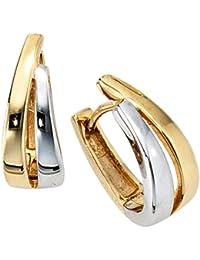 Bijoux paire de boucles d'oreilles en or jaune 333 mécanisme de pliage de rhodié partie (env. 2,6 g) H 15,3mm L 5,9mm