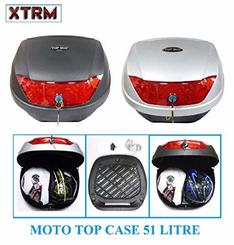 Moto Top Case XTRM 51 litres Moto Universel Touring Scooter Bagages valises Bagage Cas arrière Peut contenir 2 Casques - Noir - One
