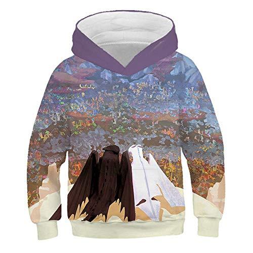 YXRL Kinder Sweatshirt 3D Print Cartoon Dragon Kapuzenpullover Langarm Hoodie Oberbekleidung Purple-110 -