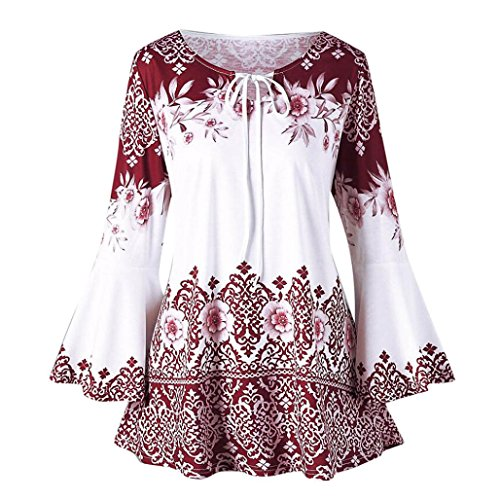 SEWORLD 2018 Damen Mode Sommer Herbst Beiläufige Schal Übergröße Gedruckt Aufflackern Ärmel Tops Blusen Schlüsselloch T-Shirts(Rot,EU-52/CN-5XL)