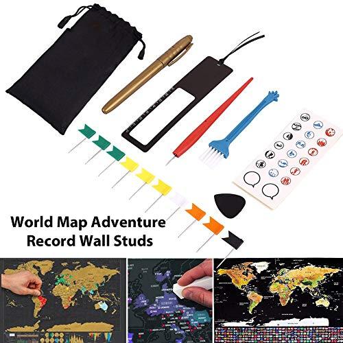 OUKEN Full Set Scratch Off-Tool für World Map Premium-Design bequemes Werkzeug zum Markieren Sie Ihre Weltkarte abkratzen Poster mit ihnen Staaten -