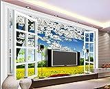 Fototapete 3D Tapete Vlies Wallpaper Wanddeko Wandbilder Anpassbare Fantasiebirnenblumenfenster-Rapssamen-Blumenwand