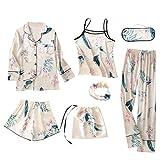 Echte Seide Pyjamas Printed Sieben Stück Kleidung Set Homewear Anzüge für Frauen (Lilie, XL)