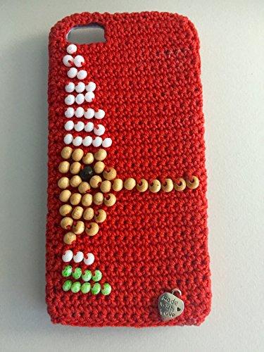 Cover UNCINA Pinocchio 1.0 per Iphone 5/5c realizzata a mano all'uncinetto e applicata su cover (Handcrafted Perle)