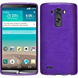 PhoneNatic LG G3 Hülle Silikon lila brushed Case G3 Tasche + 2 Schutzfolien