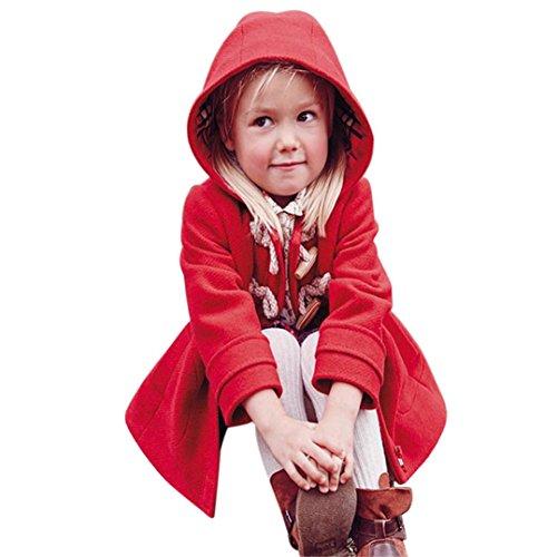 Koly_Giacca bambino cappotti Bambini inverno caldo caldo incappucciato tuta Outwear (110, Rosso)