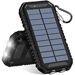 Hiluckey Chargeur Solaire 15000mAh Portable Power Bank avec Deux 2.4A Ports Imperméable Batterie Externe avec Lampe LED pour iPhone, Samsung Galaxy, iPad, Smartphone etc