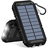 Hiluckey Solar Charger 15000mAh Waterproof Power Bank with Dual USB 2.4A Output Portable Battery Pack Phone Chargers for iPhone, Samsung, ipad and Smartphone Outdoor Camping Hiking