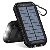 Hiluckey Solar Charger 15000mAh Waterproof Power Bank with Dual USB 2.4A Output Portable