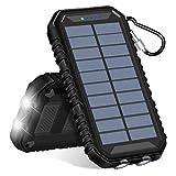 Hiluckey Solar Powerbank 24000mAh Solar Ladegerät mit 3 Solarpanel Wasserdicht Tragbaren Externer Akku mit Dual 2.1A USB Ausgängen Kompatibel für iPhone, Samsung, iPad und andere Smartphones