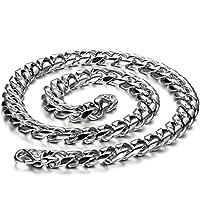 JewelryWe Halsketting voor heren, roestvrij staal, grote zware fietsketting, pantserketting, zilveren ketting, breed 8 mm, 55 cm
