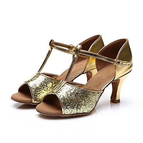 HROYL Damen Tanzschuhe/Latin Dance Schuhe Satin Ballsaal Modell-D7-216 Gold 40 EU - 6