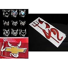 NdB 1055 - [DEVIL 3D ROSSO] 3D Sticker Adesivo Decalcomania Auto Moto Camion Roulotte - Alta Qualità - No danno vernice - Rimovibile - 15,1 x 5,7 cm