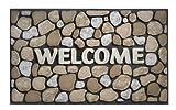 HMT 318008 Eco Master Pebble Felpudo de Bienvenida Goma reciclada Beige 75 x 45 x 2 cm