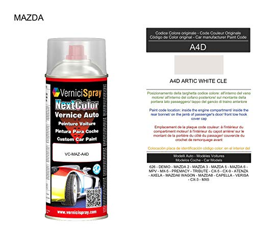 VerniciSpray A4D ARTIC WHITE CLE Auto-Lack im Spray, 400 ml