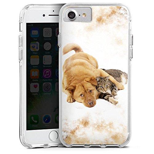 Apple iPhone 6 Bumper Hülle Bumper Case Glitzer Hülle Hund und Katze Cat Dog Bumper Case transparent