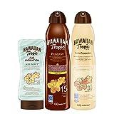 Hawaiian Tropic - Satin Schutzspray Lotion LSF 30, 220 ml + Oil Sonnenöl Continuous Spray LSF 15, 180 ml + Silk Hydration Air Soft After Sun 200ml