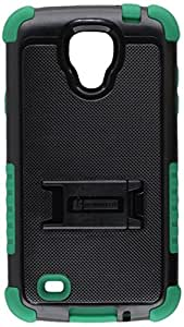 Beyond Cell Tri-Shield Durable Hybrid Hard Shell and TPU Silicone Case for Samsung Galaxy S4 Active i9252 i537 - Retail Packaging - Black/Dark Green