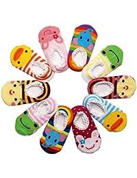 Happy Cherry - (Pack de 10 pares) Calcetines Zapatos Antideslizantes para bebés niños niñas 1-3 años - 14cm