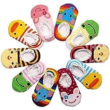 Happy Cherry - (Pack de 10 pares) Calcetines Zapatos Antideslizantes para bebés niños niñas 1-3 años -