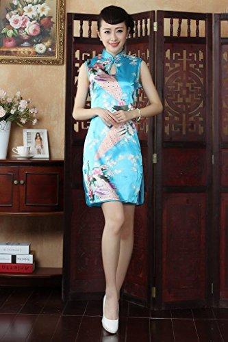 Bigood Robe Femme Cheongsam Sans Manche Soirée Mariage Paon Fleur Imprimé Bleu