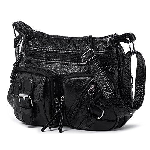 Katloo Leder Kleine Damentasche Umhängetasche Damen Kleine Schultertasche Handtaschen Citytasche Leichte Tasche Alltagstasche für Fahrten Einkauf Alltag mit Viele Reißverschluss Fächer, Schwarz (Gurt-reißverschluss-frauen-handtaschen)