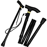 Folding Black Walking Stick Adjustable Travel Portable Secure Non Slip Lightweight Aluminium Metal