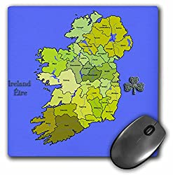 3dRose Mauspad, bunte grüne Karte von Irland, der Irischen Republik und Nordirland mit allen Countys gezeigt. - 20,3 x 20,3 cm (mp_110030_1)