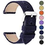 Fullmosa 8 Colori per Cinturino Orologio a Sgancio Rapido, Tela Militare Cinturino per Orologio 24mm,22mm,20mm,18mm,16mm,14mm,Cinturino per Uomo e Donna,22mm Blu Scuro