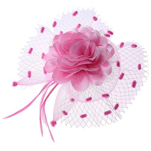 Damen Fascinator Schleier Blume Cocktail Tee Party Headwear Hochzeit Kopfschmuck (Kentucky Girl Derby Kostüm)