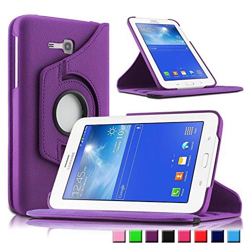 Infiland Samsung Galaxy Tab 3 7.0 Lite Funda Case-PU Cuero 360°Rotación Smart Cover Cascara con Soporte para Samsung Galaxy Tab 3 7.0 Lite T110 T111 (7 Pulgadas) Tablet(Púrpura)