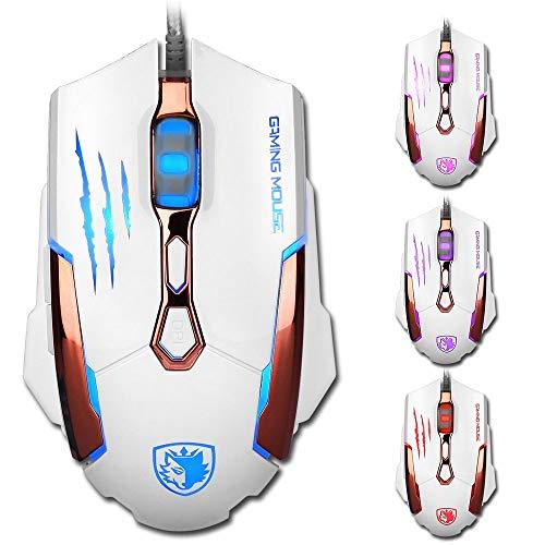 Machen Kostüm Schaum - Yowablo Maus Mit Kabel 7 Knöpfe 3500 DPI verdrahtete optische Spiel-Mäuse der Spiel-Maus-LED für PC Laptop (Weiß)