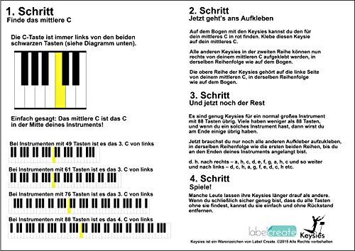 durchsichtige, ablösbare Keysies-Aufkleber für die Klavier- und Keyboardtastatur – mit praktischer Anleitung. - 5