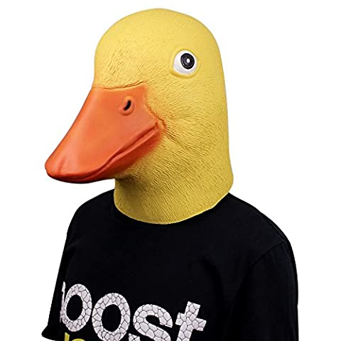 Deluxe Novelty Latex Rubber Creepy Funny Duck Head Mask Halloween Fancy Dress Party Costume Decorations (Yellow)