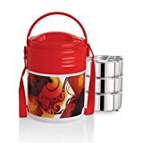 Cello Stainless Steel Lunch Box Set, 355ml, Set of 3, Red