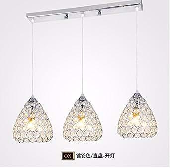 XHYYGZS Ristorante Ledthe è luce lampadari moderni e minimalisti lampadari di cristallo personalità Lounge tavoli da pranzo Sala da Pranzo lampade,Testa singola Chrome+5W