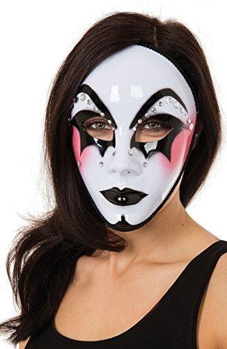 Fancy me nere bianche da donna arlecchino lustrini costume pagliaccio halloween maschera per costume