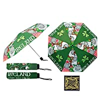 Ireland Irish Green Shamrock Sheep Leprechaun Compact Umbrella + Celtic Magnet