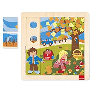 Goula - Puzzle otoño, 16 Piezas de Madera (Diset 53087)