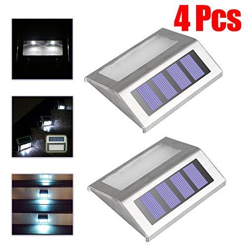 Loveusexy Solar Step Lights 3 LED Solar Powered escalier éclairage extérieur pour les marches chemins patios terrasses étanches 4PCS