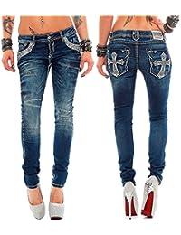 Cipo & Baxx Damen Jeans mit Kreuz auf Gesäßtaschen