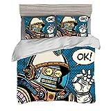 Ensemble housse de couette (200 x 200 cm) avec 2 taies d'oreiller Moderne Literie d'impression numérique Des super héros de bandes dessinées futuristes aiment un robot dans une combinaison spatiale av