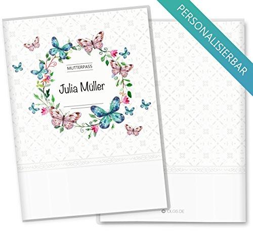 Plastik Mutterpasshülle Schmetterling und Blumenkranz mit Wunschnamen Personalisierung