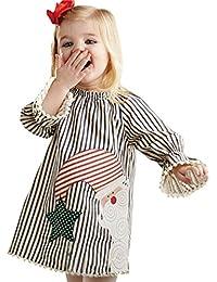 ABCone Neonata Bambino Ragazze Costume di Natale Babbo Abito A Maniche  Lunghe Stampa Frange Righe Vestito Cappotto da Bambina Abiti… cc03f68a31c