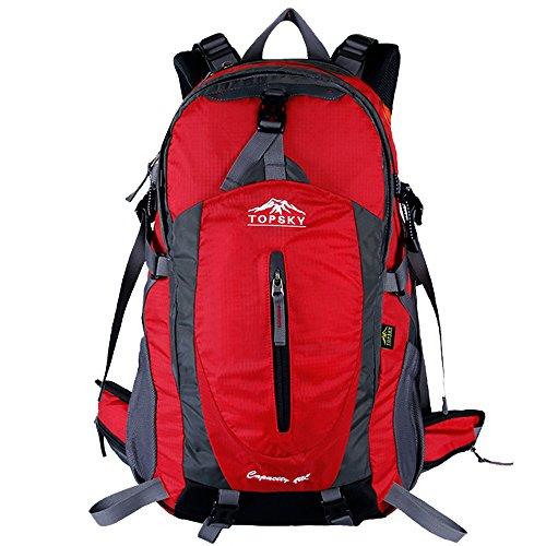 Topsky Outdoor Sport Wandern Klettern Camping Radfahren Rucksack Daypacks Wasserdicht Bergsteigen Laptop-Tasche Unisex 40L 50L Trekking Travel Rucksack mit Regen Cover rot - Unten Rot Outlet