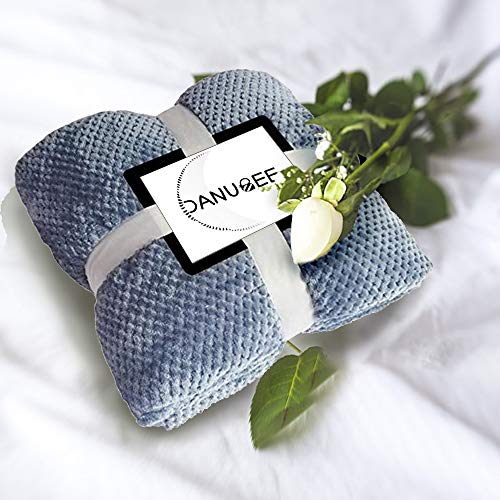 DANUBEE Premium-gewichtete Fleecedecke, warm, weich, wendbar, luxuriös, Queen/Twin/Full Size Bett, Baumwolle/Mikrofaser, gemütlich und bequem, Rot/Blau/Braun 70''*78'' blau (Queen-size-braun Flanell-bettwäsche)