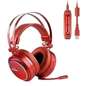 AUKEY Cuffie Gaming Headset Cuffia USB Surround 7.1 con Microfono, Controllo Volume ed Effetto RGB Blacklighting per PC, PS4 (Rosso)