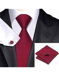 3er Set In 15 verschiedenen Farben Krawatte mit Einstecktuch und Manschettenkn/öpfe Captain Herren Mikrofaser Hochwertige Designer Anzug Krawatten -