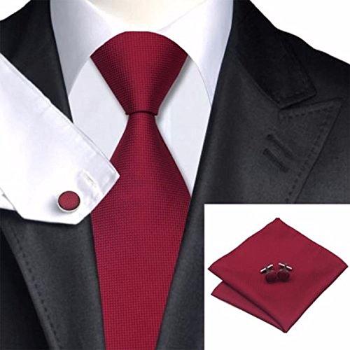 Captain Herren Designer Krawatte Set 100% Seide - 3er Set Krawatte mit Einstecktuch und Manschettenknöpfe (Rot)